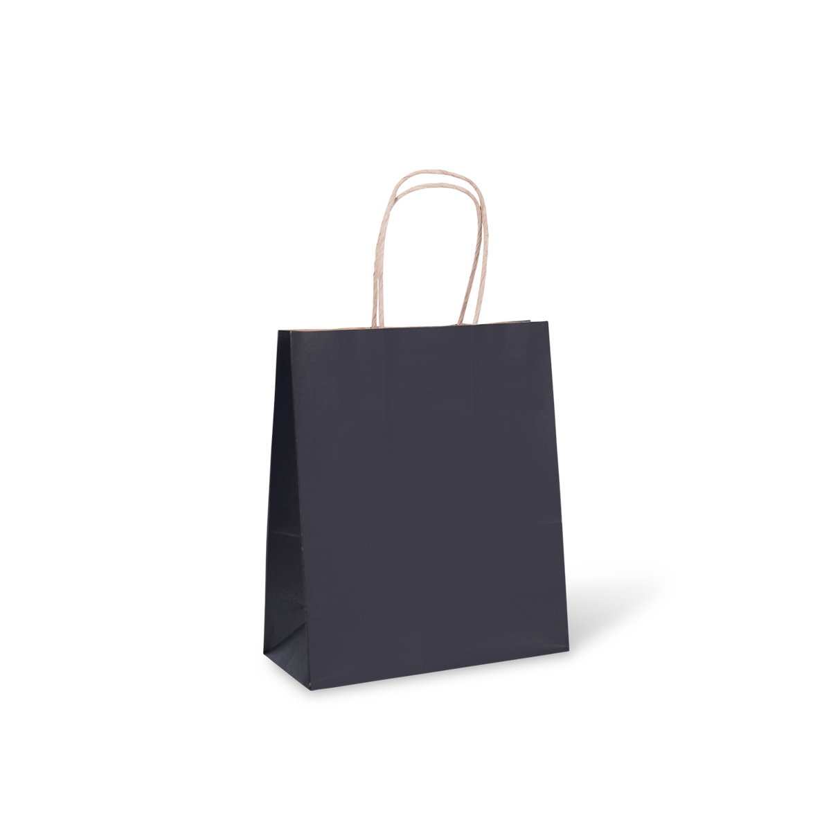 8 Extra Small Petite Paper Twist Handle Bag Black 215mm X